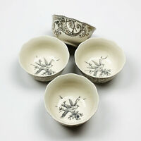 222 Fifth Adelaide Bird on Branch Gold Filigree Cereal Soup Bowls Set of 4