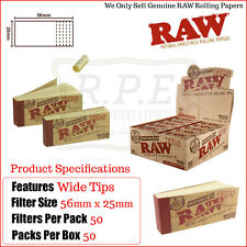 Raw Genuine Perforated Wide Hemp & Cotton Tips - 50 Packs - One Full New Box