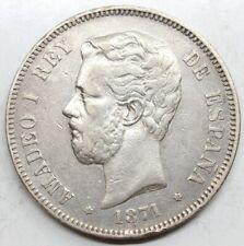 ESPAÑA AMADEO I 1871 *18-75 perfecta DEM 5 PESETAS MONEDA PLATA MBC+
