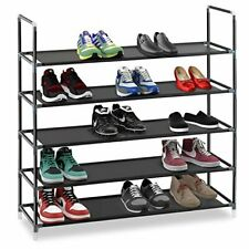 5 Tier Stackable Shoe Rack Storage Shelves Stainless Steel Frame 25 Pairs Shoes