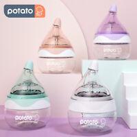 POTATO Glass Bottle Newborn Baby Bottles Wide Neck Slow Flow Feeding Bottle 80ml