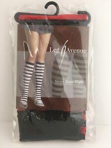 Leg Avenue Striped Knee Highs Socks Stockings Black Red Halloween, Lolita