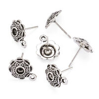 40 Tibetan Alloy Flower Earring Posts w/ Loop Embossed Stud Earwire Silver 14mm