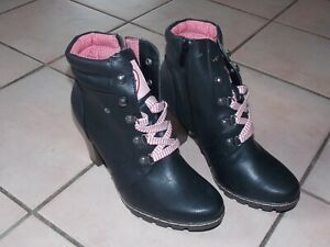 Trachten Stiefel Stiefeltte Gr. 38 NEU ungetragen schwarz/rosa
