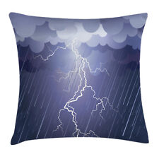 Gray Throw Pillow Case Thunderstorm Dark Clouds Square Cushion Cover 20 Inches