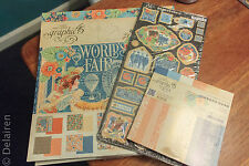 Graphic 45 WORLD'S FAIR Lot 12x12, 6x6 Paper Pads + Chipboard Embellishment NEW