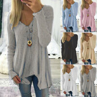 Plus Size Womens Long Sleeve V Neck Irregular Tops Loose Blouse T-Shirts Sweater