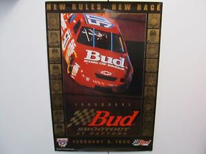FEB 8 1998 INAUGURAL BUDWEISER SHOOTOUT NASCAR POSTER AT DAYTONA BEACH FLORIDA