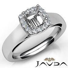 Cushion Diamond Engagement Halo Prong Set 0.2Ct Semi Mount Ring 14k White Gold