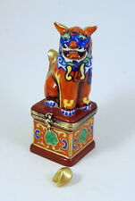 NEW FRENCH LIMOGES BOX MULTI-COLOR CHINESE FOO DOG GUARDIAN LION FORTUNE COOKIE