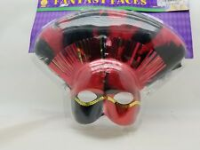 Black & Red Feather Harley Quinn Masquerade Mardi Gras Face Mask Rubie's 52983