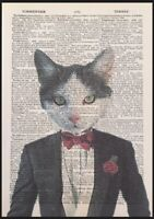 Black & White Cat Print Vintage Dictionary Page Wall Art Picture Kitten Animal