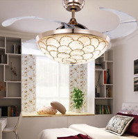 """42"""" Retractable Ceiling Fan Crystal Chandelier Remote Invisible Blades LED Light"""