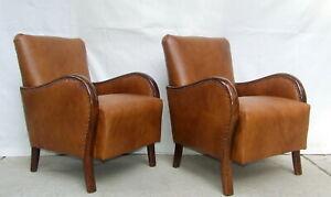 Art Deco Leather Armchairs. Club Cocktail Chairs. Antique Vintage Halabala 1920s