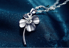 Four Leaf Clover pendant 925 sterling silver necklace jewellery women lady gifts