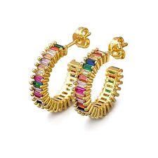 18k Gold Plated Emerald Cut Rainbow CZ  Hoop Earrings Made With Swarovski
