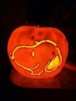 Halloween Peanuts Snoopy Light Up Jack O Lantern Pumpkin  Plastic