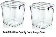 Pack de 2 40 Capacité Litres Plastique Pantry Boîte alimentaire conteneur stocka...