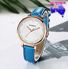 Wholesale Blue Leather Steel White Dial Quartz Watch Women Lady Wrist Watch