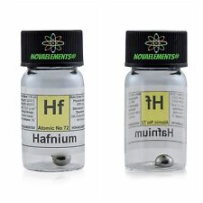 Hafnium metal element 72 Hf sample pellets 1 gram 99,95% in labeled glass vial