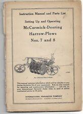Original 4 12 1948 Mccormick Deering 7 8 Harrow Plows Operators Manual 1006572r3