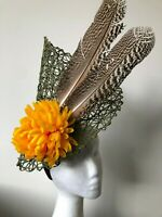 NEW green basket weave with yellow flower and brown feathers!