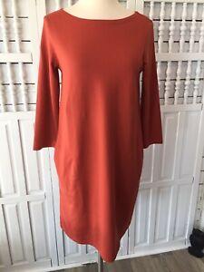 Garnet Hill women's sz. 4 rust stretch organic cotton shift dress, pockets, K20