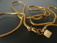 """Anne Klein Gold Tone Necklace 34"""" long Snake Chain w/ Lion Head Tag Exc Cond Vtg"""