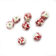 10 Porcelain Beads 12mm Red Flower