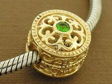 Bd052 Large 9ct Solid Gold Natural Tsavorite / Green Garnet Bead Fleur-de-Lis