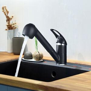 Küchenarmatur Wasserhahn Ausziehbar Schwarz Küche Spültischarmatur mit Brause