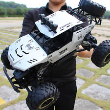 Large 2.4G remote control four-wheel drive climbing car Silver + spare battery