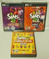 Sims 2: Nightlife, Family Fun, Business PC Games Complete w/ Key Code on Manuals