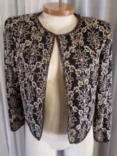 Vintage Black M Woman Silk Bead Embroidery Lady Jacket Medium Stenay 8 Bolero