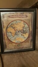 Vtg Map of the World Typvs Orbis Terrarvm- Signed ~Matted~Framed ~Gary Elizabeth