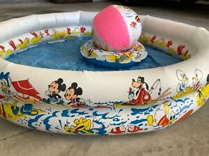 Vintage Ideal Toy Co MICKEY MOUSE WALT DISNEY CO Vinyl Swimming Pool, Ring, Ball