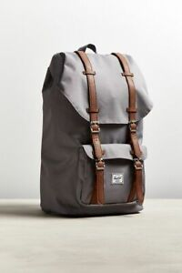 """Herschel Supply Co Little America Backpack Grey Brown Leather 25L 15"""" Laptop NEW"""