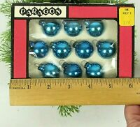 """Small Vintage Ornaments 1"""" Blue Boxed Set Blown Glass"""