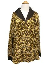 Barbizon Vintage Large Pajamas Leopard Top Long Brown Pants Long Sleeve Pjs
