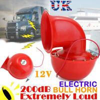 12V 200DB Electric Bull Horn Loud Trumpet Red for Auto Car Motorcycle Truck Boat