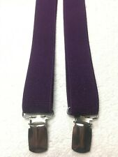 MENS SUSPENDERS ALL ELASTIC CLIP ONS SOLID PURPLE