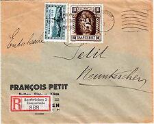 1925 Saar Scott 119 (&142) on registered cover Saarbrucken-Neunkirchen 1/18/1935