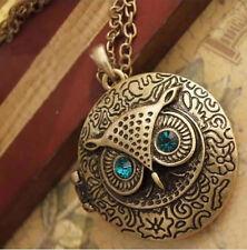 Vintage Brass Owl Locket Long Pendant Necklace with Blue Zircon Eye