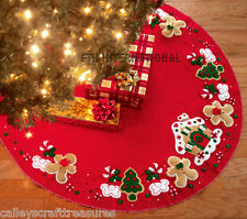 "Bucilla Gingerbread House ~ 43"" Felt Christmas Tree Skirt Kit #85133, Cookies"