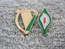 Irish Pride Harp & Easter Lily Pin/Badges Ireland Flag Tri-Colors 25mm Pins