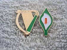 Large Irish Harp & Easter Lily Pin/Badges Ireland Irish Republican Tri-Colors