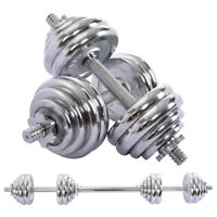 Adjustable Weight To 66lbs Dumbbell Barbell Set Home Fitness Gym Work Out