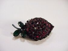 Joseph Warner Jewelry - Red and Green Strawberry Pin -- VERY NICE! 1950s