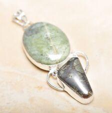 "Handmade Apache Gold Natural Gemstone 925 Sterling Silver Pendant 2.75"" #P14268"