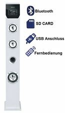 Weißes Musiksystem Kompaktanlage Lautsprecherturm 2.1 Sound Tower  Musikanlage